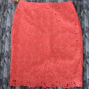 Liz Claiborne Coral Lace Pencil Skirt!💋
